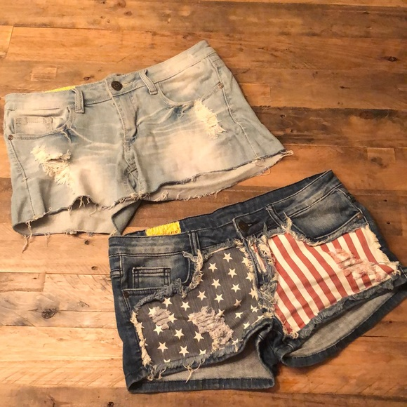 Machine Pants - Machine American Flag Jean Shorts Distressed blue